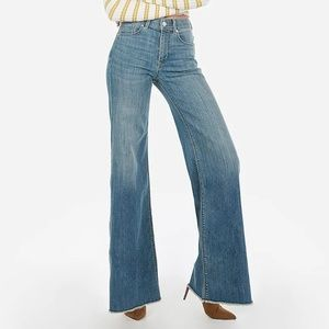 Express High Waisted Medium Wash Palazzo Jeans 2R
